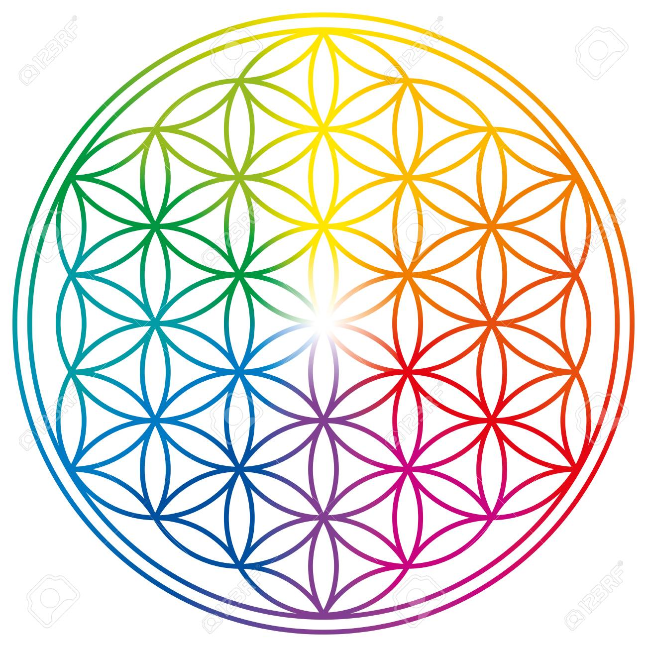 Flower of Life with rainbow gradients